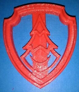 High Quality Red 3D Printed Paw Patrol Zuma Shield Cookie Cutter