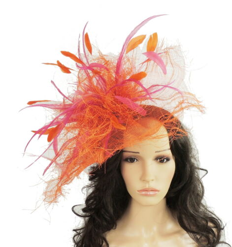 Bals V4 Ascot Orange//Rose Fuchsia Plume Chapeau Pour Les Mariages