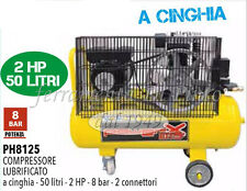 COMPRESSORE 50 LT CINGHIA OLIO ITALY 8 BAR 2 HP 2 MANOMETRI 2 CONNETTORI 170L/M