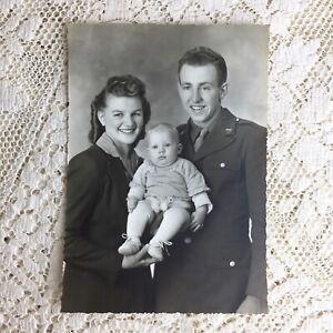 Antique Vintage Photo Solider Wife Baby Boy Son WW2 Army Uniform ID Floyd Wright