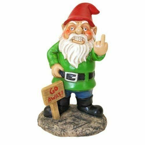 unh/öfliche Garten Greeter Go Away lustige Garten GNOME Ornamente Outdoor Yard Dekor Handwerk Kunsthandwerk Skulptur Weihnachten Dress Up Teckey Garten Gnom Statue Figur 5,9gro/ß