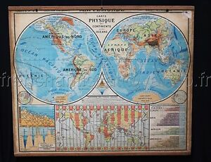 B632 french vintage school world map time zone america africa ocean image is loading b632 french vintage school world map time zone gumiabroncs Choice Image