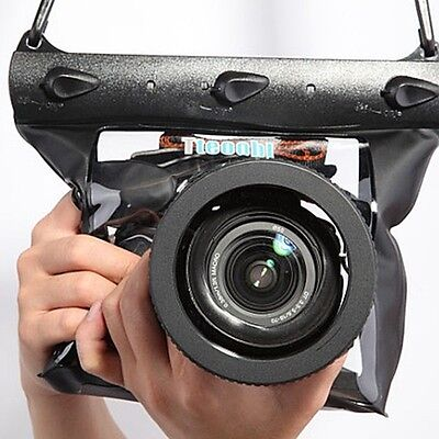 Underwater 20M Waterproof Housing Case Diving Bag DSLR SLR Camera Black 518M-B