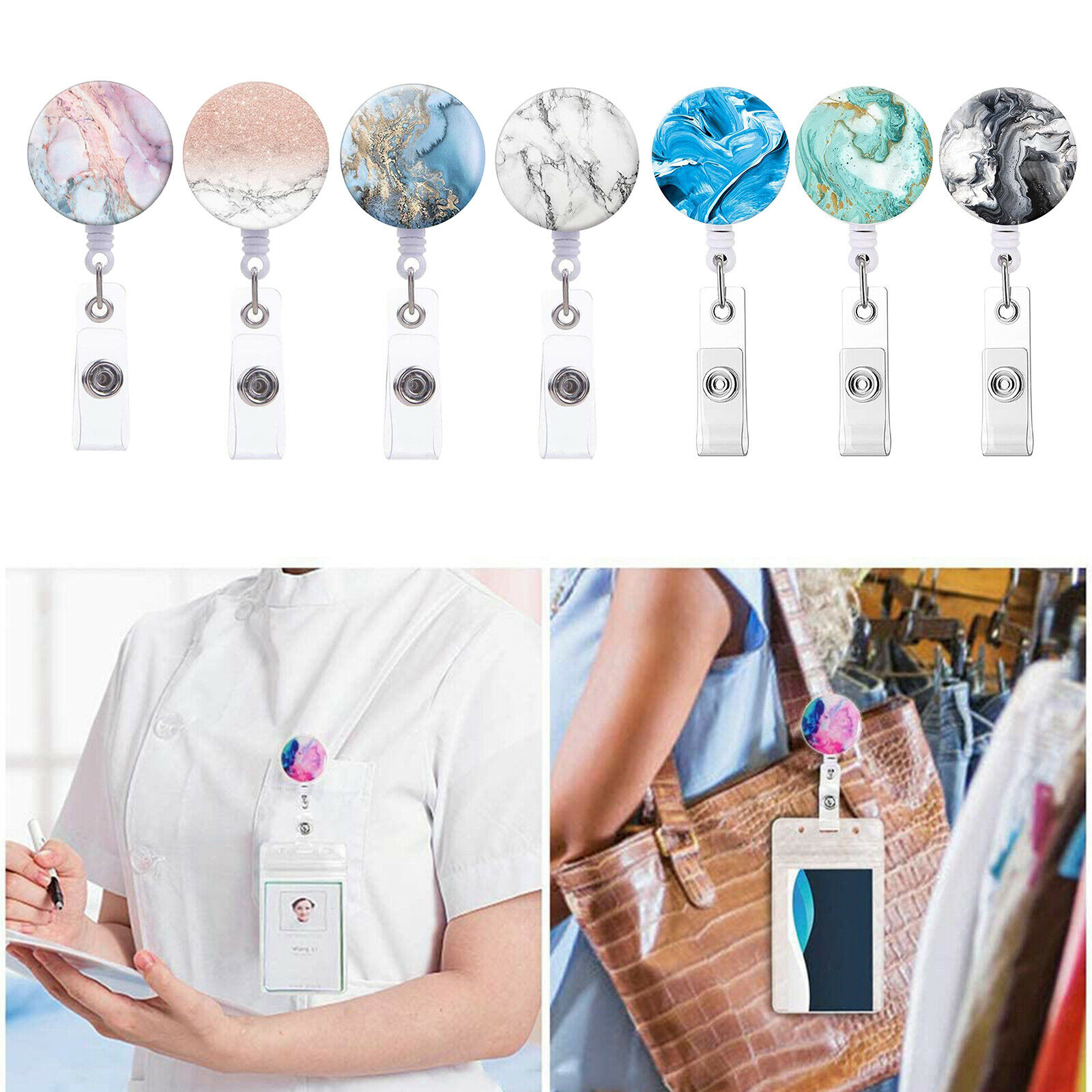 3x/4x Retractable Pull Chain Reel ID Card Badge Keychain Holder Carabiner Clip