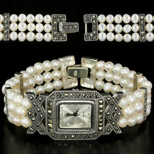 Sterling Silver 925 Art Deco Design Button Pearl and Marcasite Watch 6.25 Inches