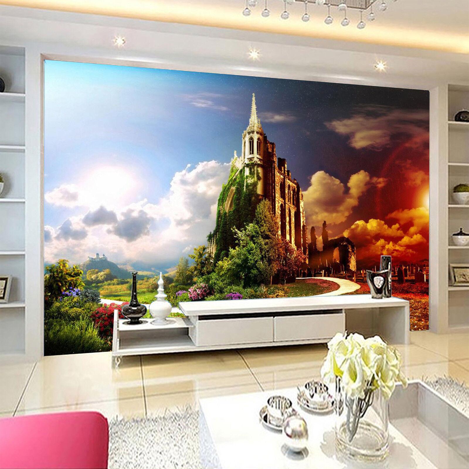 3D Schloss Garten Gehweg 8095 Tapete Wandgemälde Tapeten Bild Familie DE Lemon