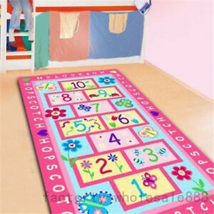 Newest Hopscotch Kids Area Rugs Carpet Bedroom Pink Figures Print