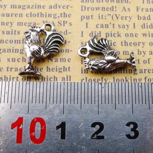 10x Tibetan Silver Charms Cock Rooster 3D Beads Pendant DIY 18*13mm