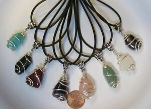 One-Wire-Wrapped-Tumbled-Stone-Pendant-w-Cord-Bail-3-4-Natural-Gemstones