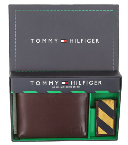 Tommy Hilfiger Men/'s Genuine Leather Wallet with Bill Metal Clip $0 Free Ship