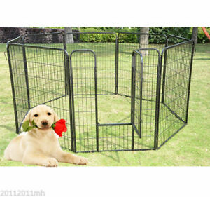 Heavy-Duty-Pet-Playpen-Dog-Exercise-Pen-Cat-Fence-Black-8-Panel-24-034-32-034-39-4-034