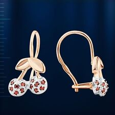 Russische Rose Rotgold 585 Kinder Cherry Ohrringe mit CZ Nue Rose Gold earrings!