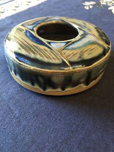 Vtg Studio Art Pottery Low Vase Flower Frog Ikebana Blue Glaze Artist Signed