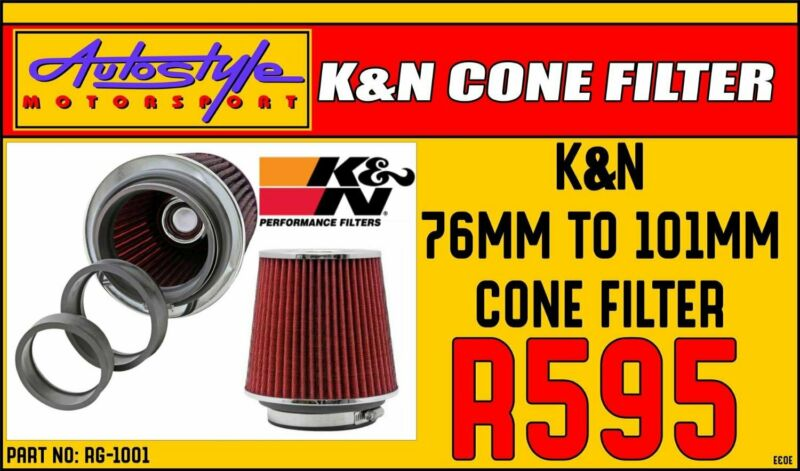 KandN RG-1001 Universal Air Filters      Designed to Increase Horsepower and Acceleration     Simple