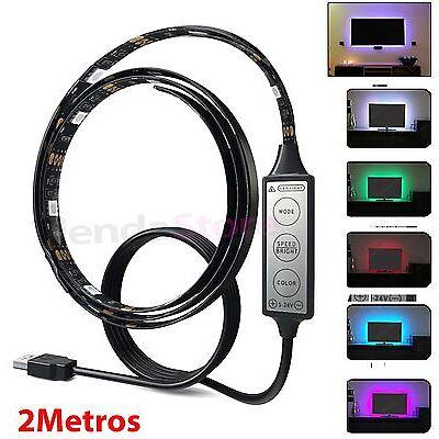 Tira de led RGB controlador USB 2 Metros MULTICOLOR se conecta TV AMBILIGHT LUZ