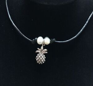 """NEW A BLACK LEATHER CORD 13-14/""""  TIBETAN SILVER CRYSTAL HEART CHOKER NECKLACE"""