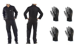 KFZ-Arbeitskombi-Overall-schwarz-Arbeitsoverall-inkl-4-Paar-Arbeitshandschuhe
