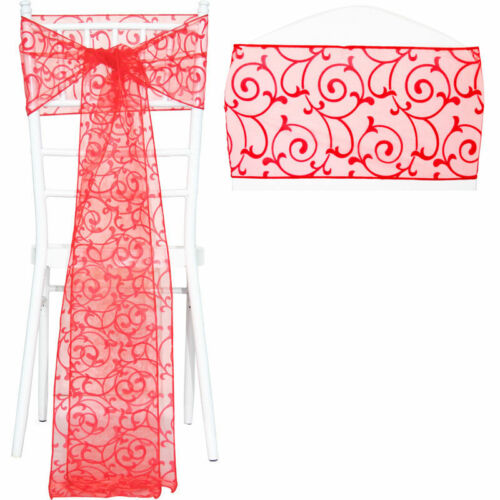 Floral Chair Sashes Leaves Organza Flocked Table Runners Flower Sash Plants Stem