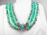 Amy Kahn Russell Turquoise Jade Mop Five Strand Sterling Silver Necklace