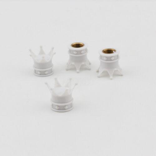4x White Crown Aluminum Wheel Tyre Valve Stem Caps Universal For GMC Model