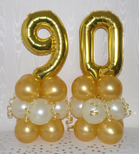 FOIL BALLOON DISPLAY 90th BIRTHDAY GOLD// IVORY AGE 90 TABLE CENTREPIECE