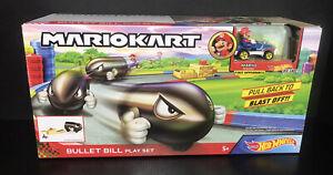 2019 Hot Wheels Mario Kart: BULLET BILL Play Set (w/ Mario In Sneeket Kart)