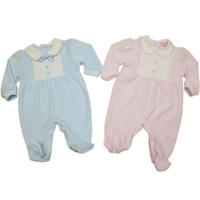 Baby Boy Girl Spagnolo Romany Stile Pigiama Rosa In Velluto Blu 0-3 3-6 6-9 M-