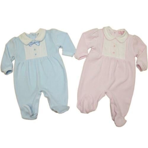 Baby Boy Girl  Spanish Romany Style  Sleepsuit pink blue velour 0-3 3-6 6-9 m