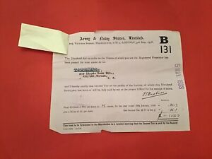 Army & Navy Stores Ltd London 1938 Dividend   receipt R35618