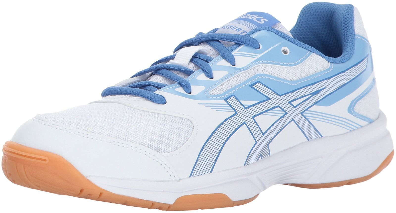ASICS Women's Upcourt 2 Volleyball Shoe, White/Regatta Blue/Airly Blue, 12