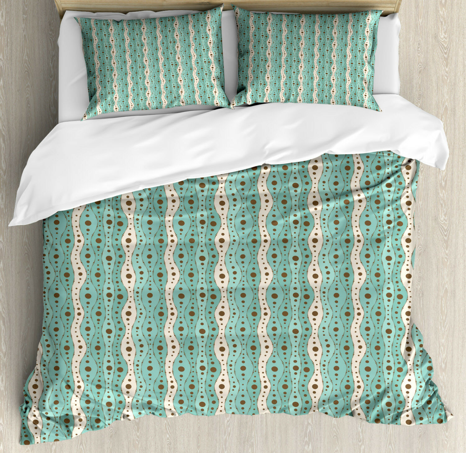 Turquoise Duvet Cover Set with Pillow Shams Traditional Polka Dot Print