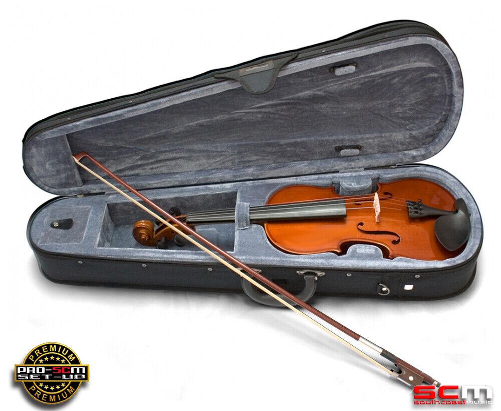 Valencia SV114 4 4 Full Größe Student Violin Outfit Case Bow Rosin PRO-SCM Setup