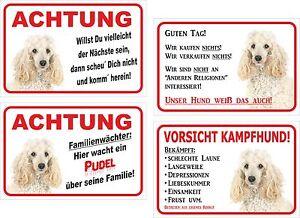 Weißer Pudel Motive 15x20-40x60cm Hund Versch Schild Vorsicht