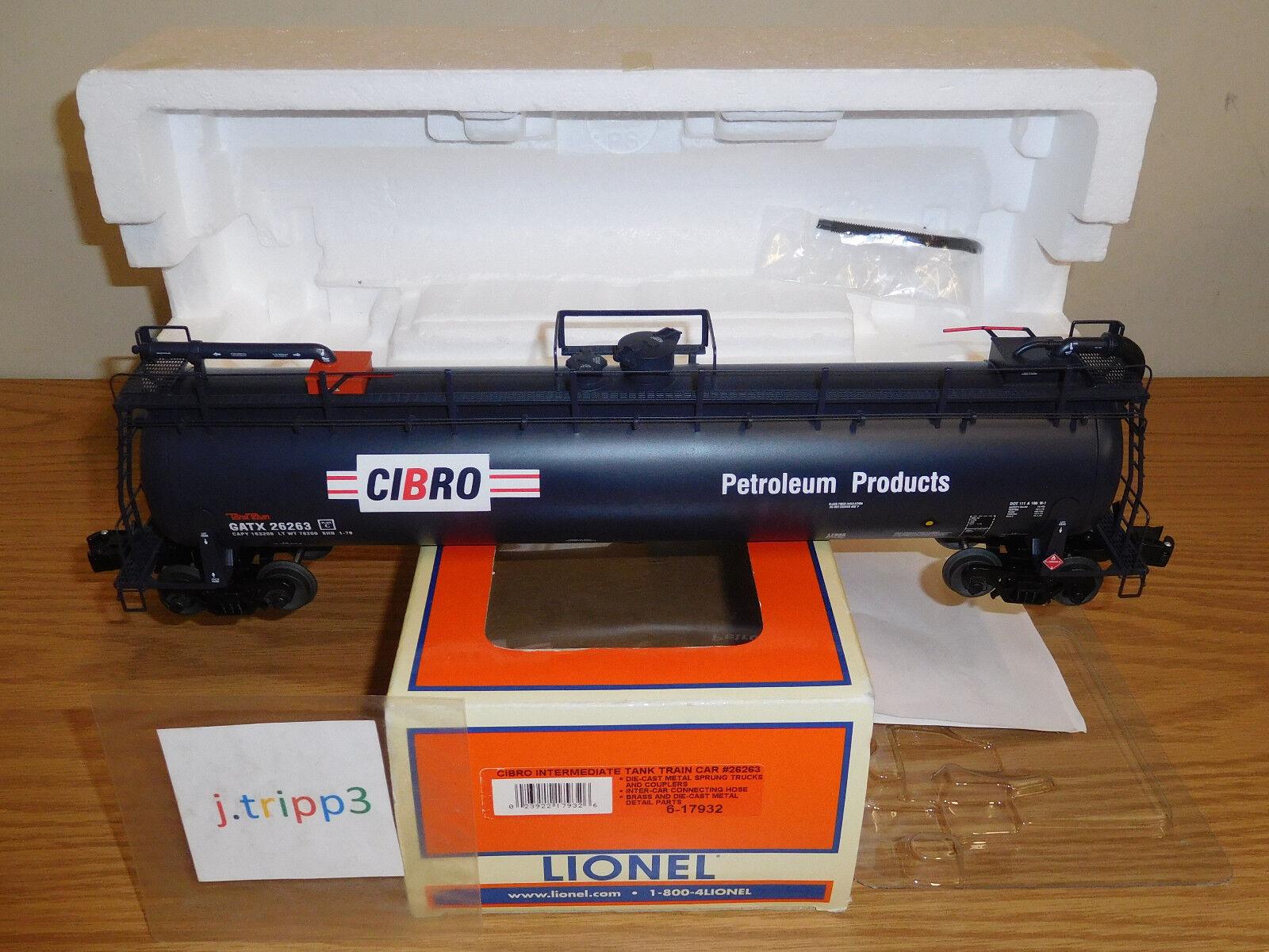 LIONEL 6-17932 CIBRO GATX TANK TRAIN INTERMEDIATE CAR O SCALE PETROLEUM FREIGHT