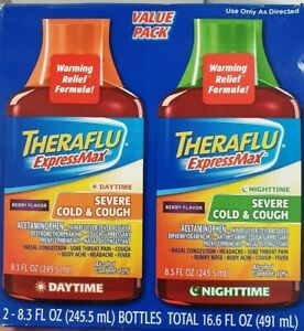 Details About Two Pack Theraflu Express Max Severe Cold Cough Daytime And Nightime Liquid