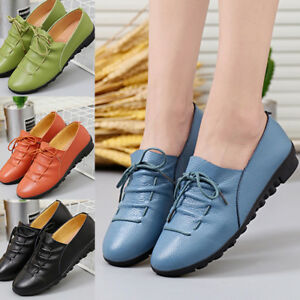 UK-WOMENS-LADIES-LEATHER-FLATS-SLIP-ON-PUMPS-SOFT-COMFY-WORK-SHOES-LOAFERS-SIZE