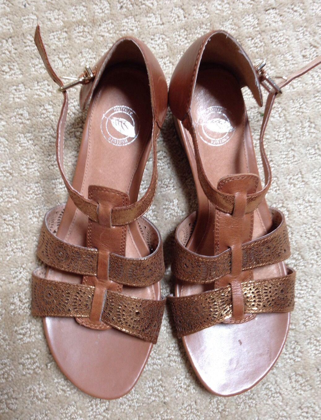 EUC Women's Nuture Brown and Metallic $80 Strap Wedge Sandal Retail $80 Metallic e5f8ed