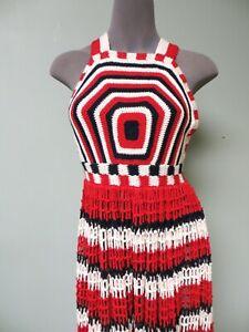 895-Ulla-Johnson-NEW-Paz-Dress-M-Open-Back-Cotton-Knit-Crochet-Red-Multi-Halter