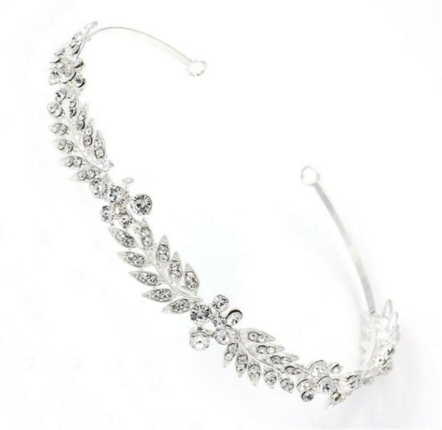 Women Silver Crystal Rhinestone Leaf Hair Head Band Headband Hoop headpiece