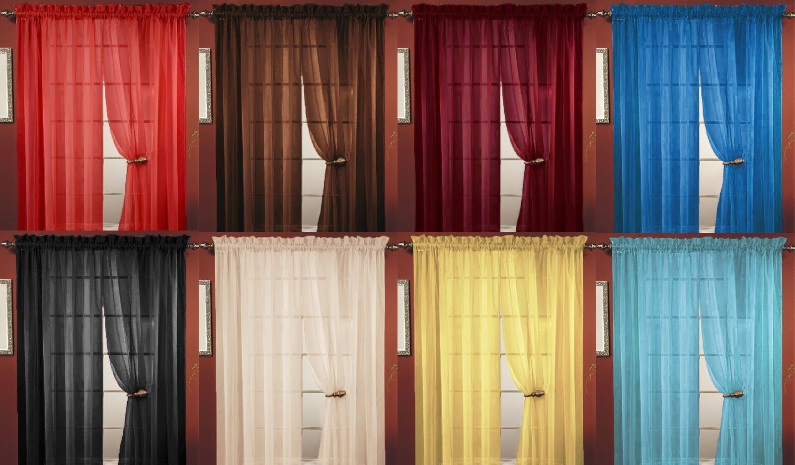 5 Panel Window : Taupe sheer voile window curtain panel great quality