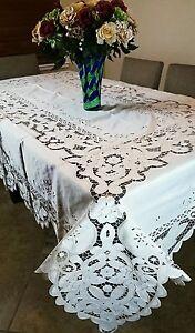 Elegant Linen Embroidery Cutwork 72x108 Tablecloth Napkin Cotton Polyester Blend