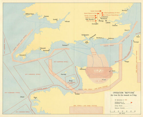 Air cover for the D-Day Normandy landings 1962 map Operation Neptune 1944