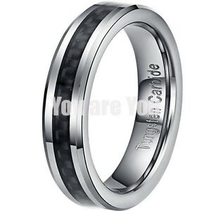 5MM-Tungsten-Carbide-Ring-Black-Fiber-Inlay-Womens-Mens-Wedding-Band-SIZE-5-12