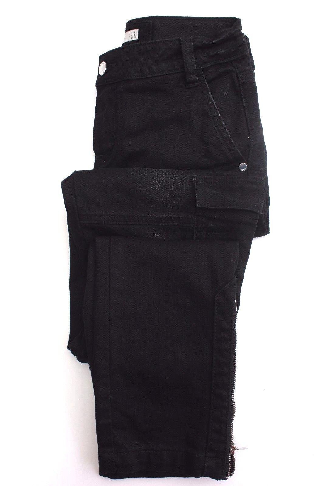 Karen Millen schwarz Combat PL060 Skinny Slim Pocket Denim Jeans Trousers 8 36 New