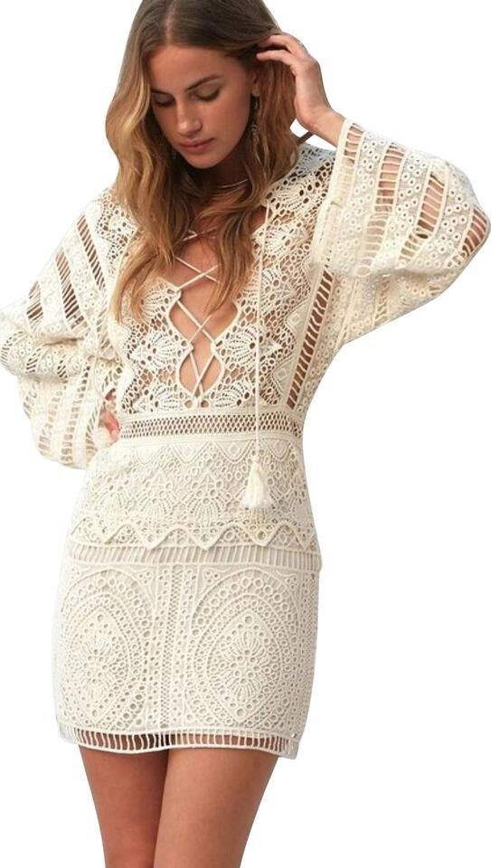 Jens Pirate Booty Isabella Crochet Crochet Crochet Lace Up Mini Dress Size M Free People d3c9b9