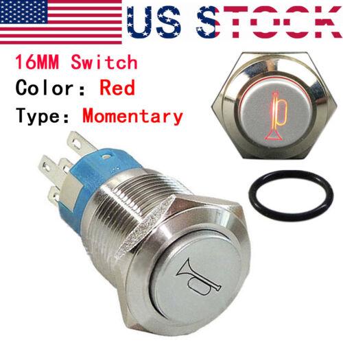 16mm Metal Waterproof Push Button Momentary Horn Switch Start Brass Red Blue