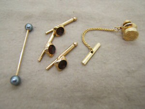 Gold Tone Button Tie Tack by SWANK