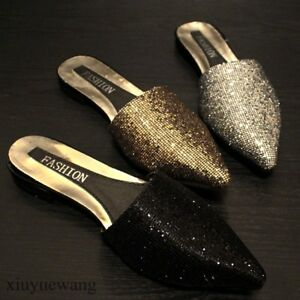 Womens-Sequin-Pointy-toe-Flats-Casual-Slippers-Shoes-Slip-on-Mules-Sandals-Pumps