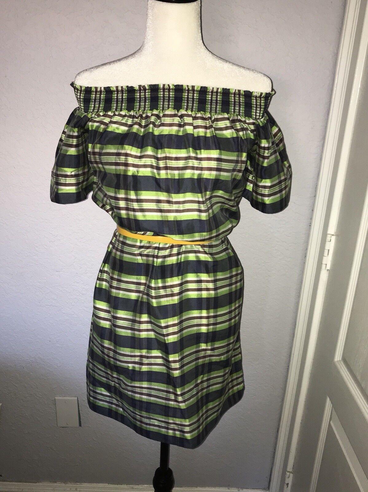 J.Crew Collection Off the Shoulder Dress in Yarn Dyed Silk Silk Silk Emerald Multi Sz 2 607a5a