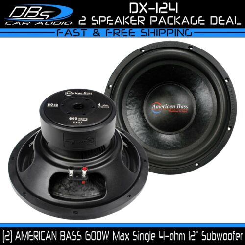 "2 American Bass DX-124 12/"" Subwoofer 1200W Max Single 4-ohm Car Audio Sub Woofer"